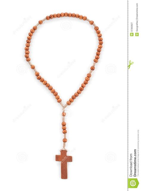 counting rosary wooden plain rosary on white background royalty free