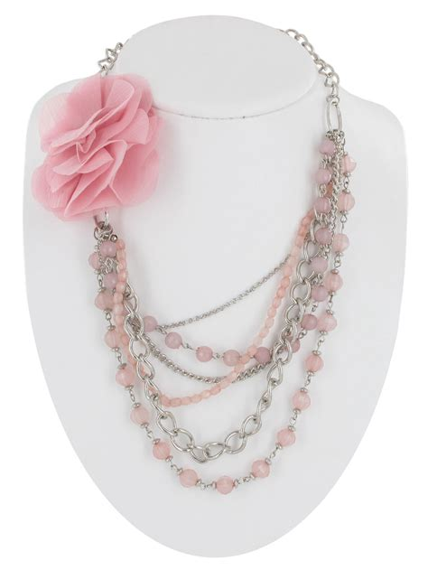 pink beaded necklace beaded necklace light pink faceted layered chains flower