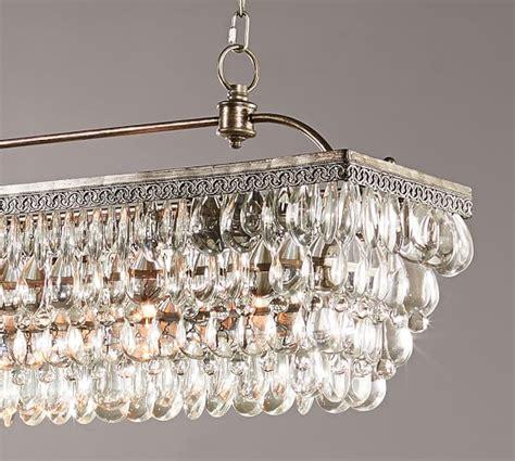 clarissa chandelier clarissa drop rectangular chandelier pottery barn