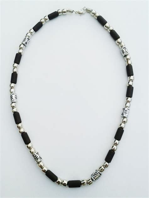 beaded choker necklace barbados two tone chrome black surfer beaded choker