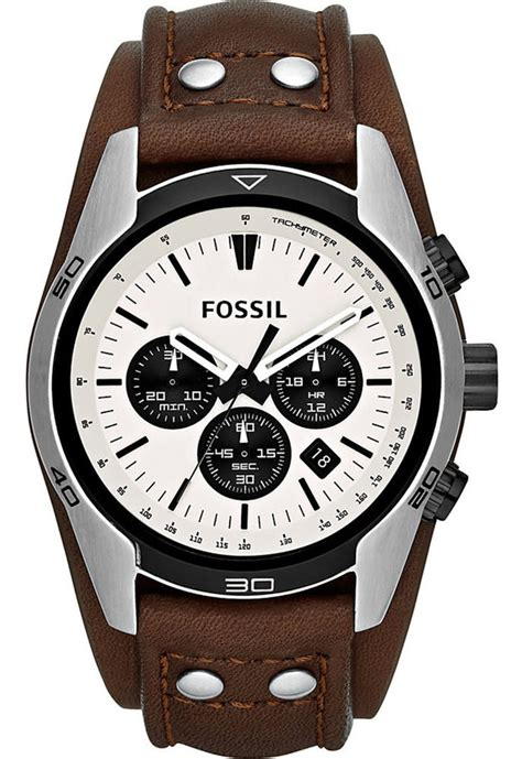 fossil watches with leather bands fossil mens ch2890 chronograph white brown leather band ebay