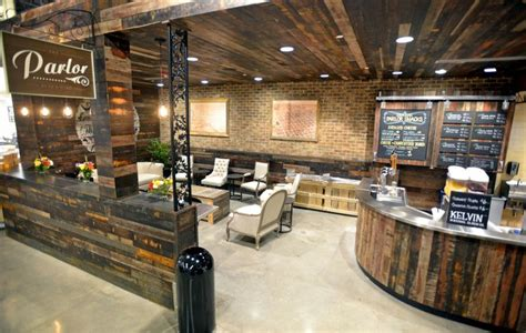 woodworking retail stores a grocery store cafe adds ambiance with reclaimed wood
