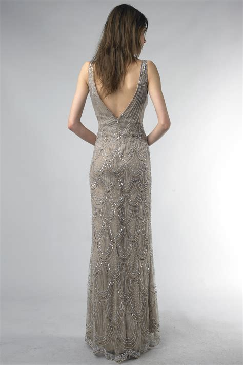 taupe beaded dress taupe beaded evening gown size 2 oncewed
