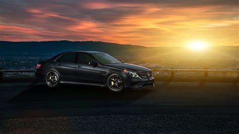 Car Sunset Wallpaper by Mercedes E63 Amg S Black Car Sunset Wallpaper