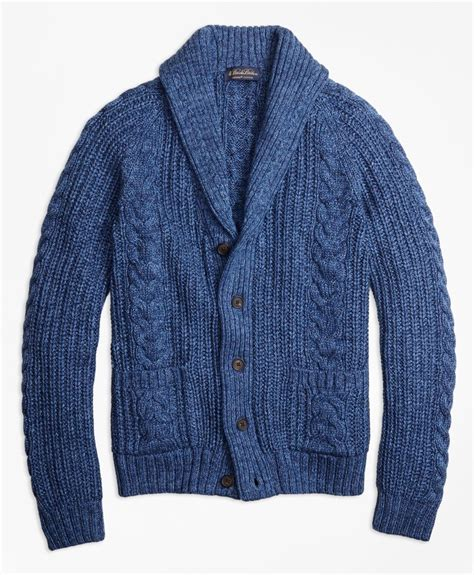 cable knit shawl collar cardigan brothers supima 174 cotton marl cable knit shawl