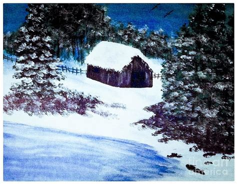 acrylic painting winter acrylic painting of winter with barn painting by