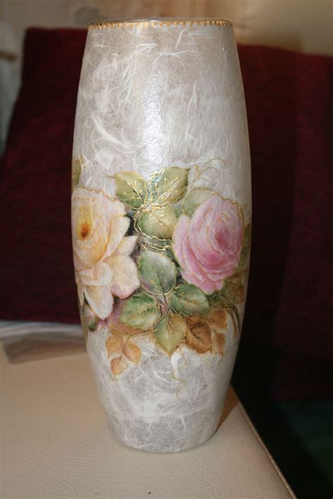 decoupage glaze ваза для цветов quot нежные розы quot decoupage t 225 ny 233 r poh 225 r