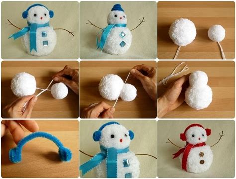 easy snowman crafts for how to make a pom pom snowman diy cozy home