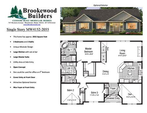 4 bed 2 bath floor plans large modular home floor plans new home plans design