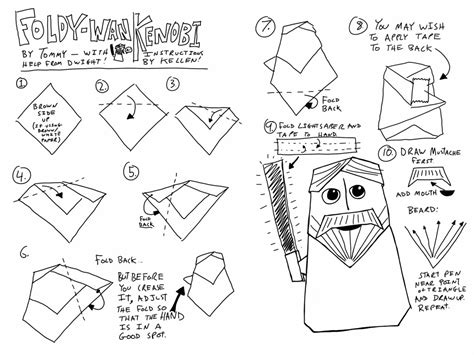 how to make an origami obi wan kenobi wars origami a list of diagrams for folding