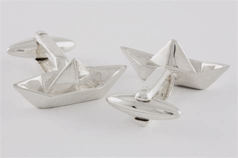 origami boot origami boat cufflinks handcrafted from sterling silver