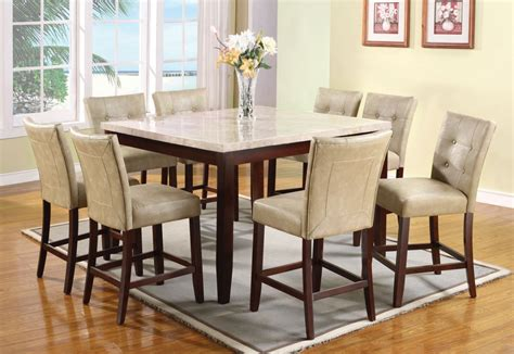Height Dining Table Set Acme 9 Pc Square Marble Top Counter Height Table Set By Dining Rooms Outlet