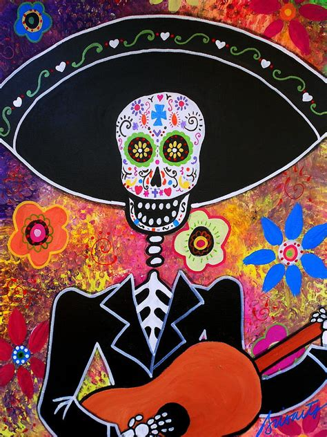 mexican painting festival mariachi serenata day of the dead painting by pristine