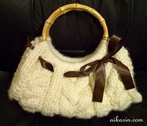 how to knit a purse aikarin s knitting cable knit purse