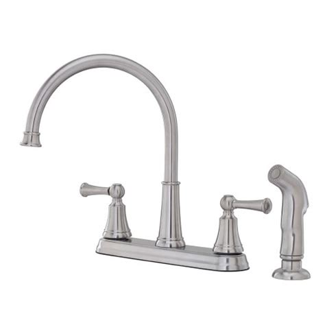 pfister kitchen faucet reviews pfister bremerton 2 handle 4 high arc kitchen faucet w side spray in stainless steel