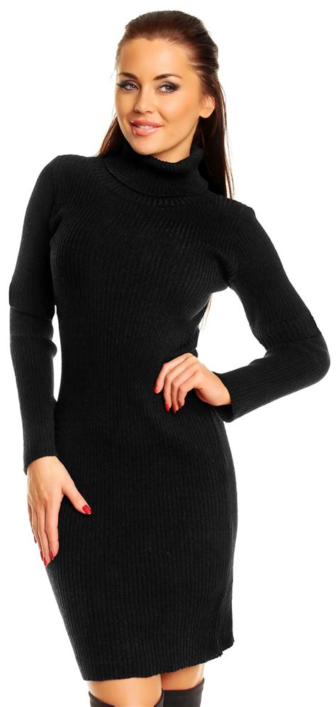 wow knit inc zeta ville s stretch ribbed knit dress roll turtle