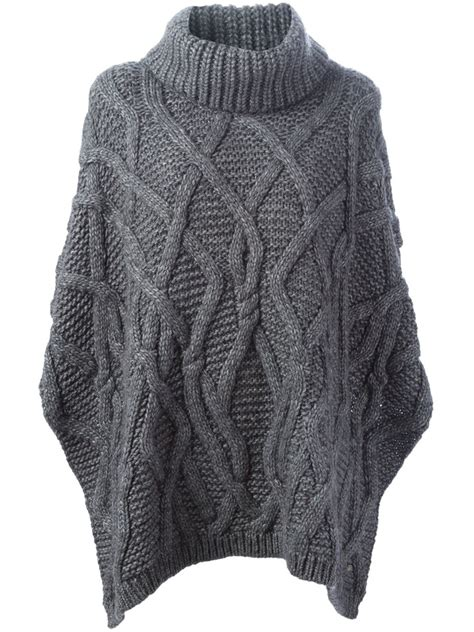 cable knit poncho woolrich cable knit poncho in gray grey lyst