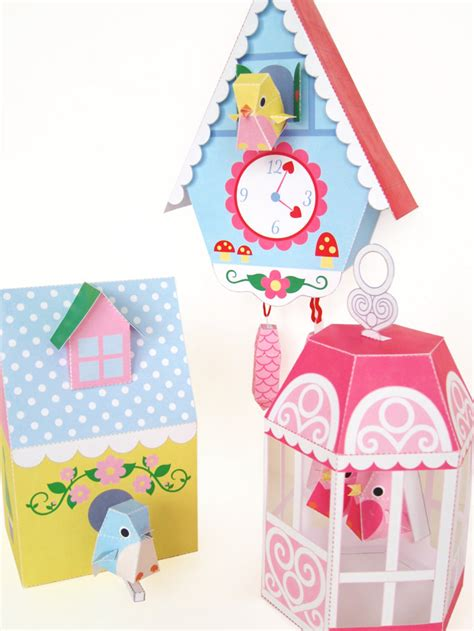 print out paper crafts cuckoo clock bird house and bird cage printable paper