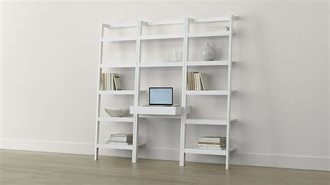 white desk with bookshelf sawyer white leaning desk with two 24 5 quot bookcases crate