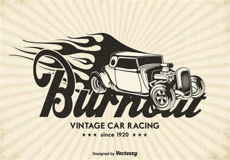 Car Vector Wallpaper by Free Vintage Race Car Burnout Vector Background