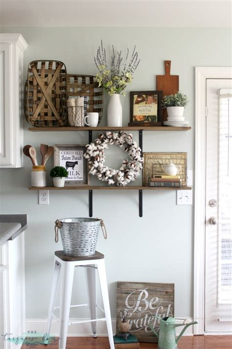 how to decorate the kitchen decorating shelves in a farmhouse kitchen