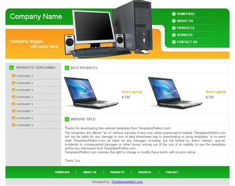 free computer accessories web template templates perfect