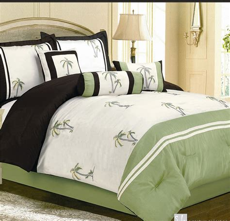 palm tree comforter set 7pc green palm tree faux silk comforter bedding