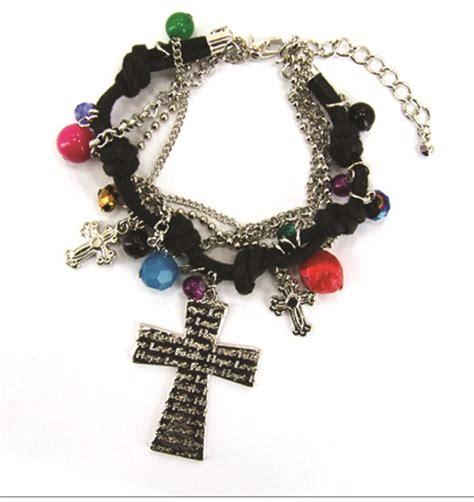 christian bead bracelet 4030175 corded chain bead cross christian bracelet jesus