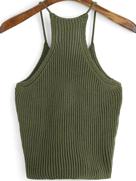 knit tops ribbed knit cami top shein sheinside