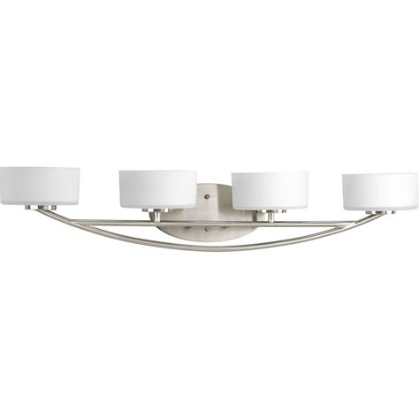 home depot bathroom lighting brushed nickel progress lighting calven collection 4 light brushed nickel