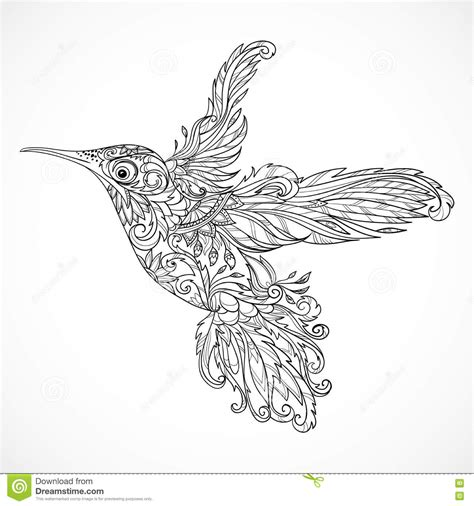 hummingbird with floral ornament tattoo art stock vector