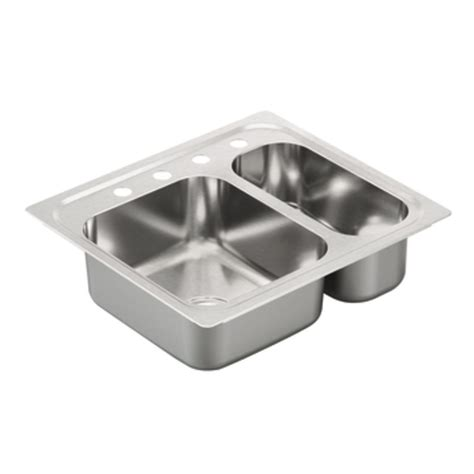 drop in stainless steel kitchen sink shop moen 2000 series 22 in x 25 in stainless steel 2