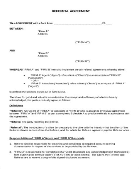sample business referral agreement 8 examples in word pdf