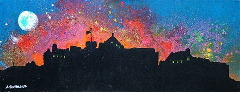 spray paint edinburgh paintings prints of edinburgh castle fireworks new