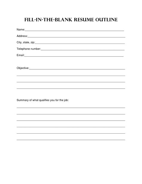 resume template blank format pdf blank resume layout