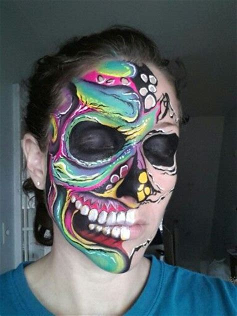 glow in the paint makeup glow skulls and skull paint on