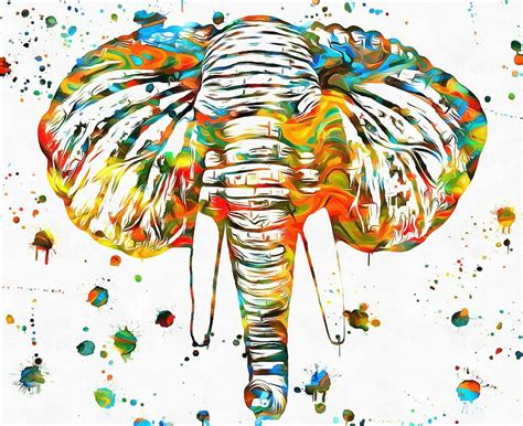 Elephant Head Paint Splatter Painting by Dan Sproul