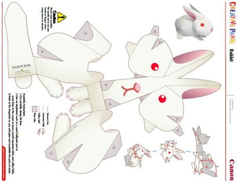 paper craft rabbit papermau easy to build rabbit paper model by canon