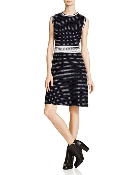 cotton knit dresses burch dot cotton knit dress in blue lyst