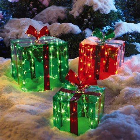 outdoor present decorations lighted outdoor gift boxes set of 3 tree