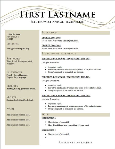 resume free templates wordscrawl com
