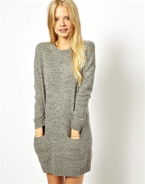 Wills Knitted Sweater Dress In Gray Lyst