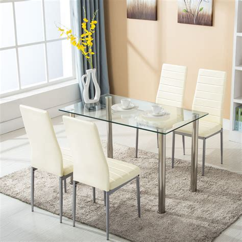 glass tables for kitchen 5 dining table set w 4 chairs glass metal kitchen