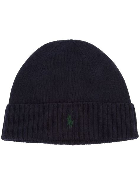 polo knit hats polo ralph ribbed knit hat in black for lyst