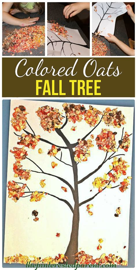 autumn arts and crafts for colored oats fall tree craft the pinterested parent