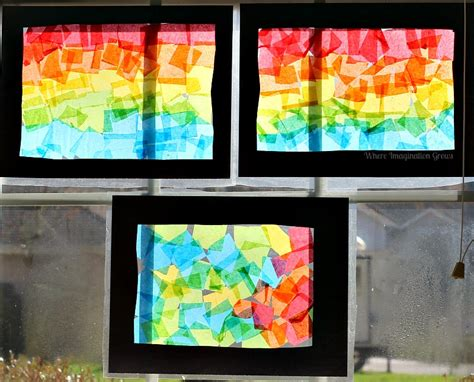 paper stained glass window craft rainbow craft tissue paper suncatcher collages