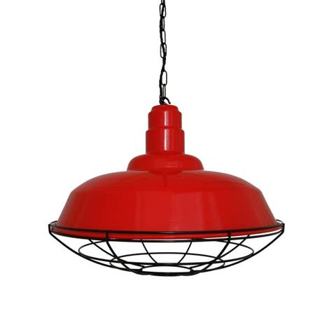 Eden Red Industrial Cage Pendant Light