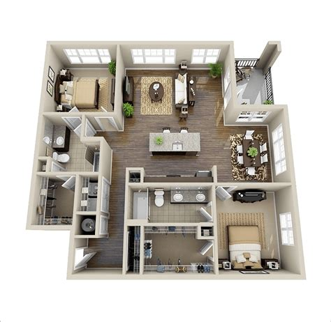 two bedroom plan design 10 awesome two bedroom apartment 3d floor plans