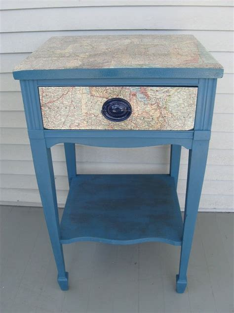 decoupage end table decoupage recycled maps side table stand painted