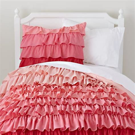 pink ruffle bedding pink ombre ruffled bedding set the land of nod